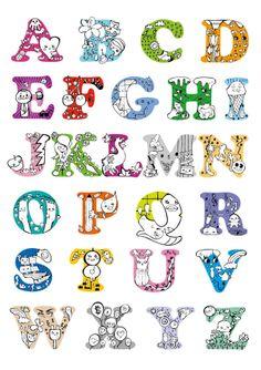 ABC Typography for kids by chika kakazu, via Behance