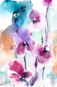 Abstract Flowers Original Watercolor Painting by CanotStop on Etsy