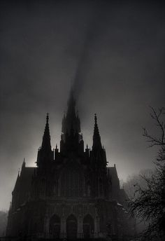 cathedral at night shadow eastern Europe photography photo b&w grim gothic victorian world of darkness vampire vienna chantry spire shadow clouds fog mood Gothic Aesthetic, Slytherin Aesthetic, Storyboard, Memes Arte, Dark Castle, Yennefer Of Vengerberg, Dark Photography, Dark Places, Gothic Architecture