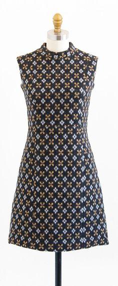 vintage 1960s mod argyle print wool shift dress