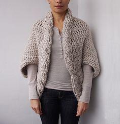 Crochet Shrug Cables Chunky Crochet Pattern