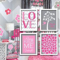 Pink Grey Gray Personalized Child Name Glenna Jean Addison Tree Bird Nursery Print Artwork Set of 4 Girl Wall Baby Decor Art Chevron Flower on Etsy, $35.00
