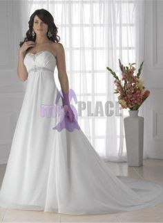 Chiffon Sweetheart Imperial Waist / Beach Style Silhouette Strapless Sleeveless Empire Wedding / Bridal Dress with Train £113.20