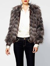 NEW RACHEL ZOE DARCY RACCOON FAUX FUR SHORT JACKET COAT 0 US 4 UK $450 $160