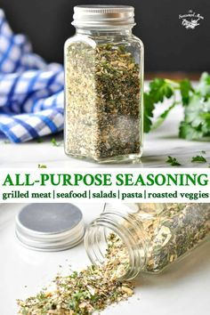 """This homemade All Purpose Seasoning or """"House Seasoning"""" is the best way to jazz up meat, seafood, salad or veggies. Just 5 simple ingredients! House Seasoning Recipe, Meat Seasoning, Garlic Herb Seasoning Recipe, Vegetable Seasoning, Italian Seasoning Mixes, Ranch Seasoning Mix, No Salt Recipes, Rub Recipes, Homemade Spices"""
