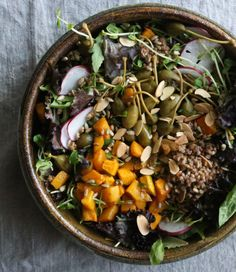 Warm Buckwheat Salad w/ Roasted Kabocha & Caper Berries