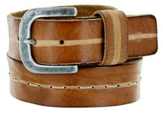E044 Men's Italian Full Leather Dress Casual Belt Made in Italy - Brown #Belts