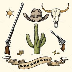 Wild West Elements. Clothes Icons. $5.00