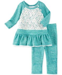 Bonnie Jean Little Girls' 2-Piece Lace French Terry Dress & Leggings Set