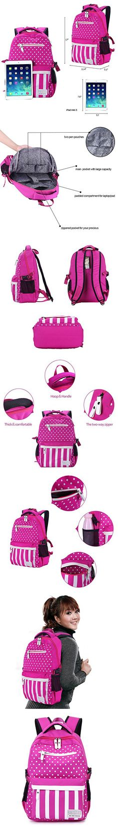 SUNPOLLO Girls Backpack School Bag Casual Backpack Cute Daypack Polka Dot Fashion Book Bag for Girls Women Canvas Rucksack Kids Primary Middle School Backpack(Fuchsia)