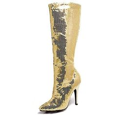 Adult Gold Sequin Knee High Boot ($50) ❤ liked on Polyvore featuring costumes, halloween costumes, multicolor, ladies halloween costumes, white lady costume, gold costume, gold halloween costumes and colorful halloween costumes