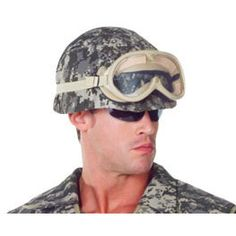 Perfect for a Halloween party soldier costume! Helmet with camouflage fabric cover. Goggles not included. One size fits most. See our entire line of Halloween . Army Costume, Soldier Costume, Costume Hats, Dress Up Costumes, Costume Shop, Adult Halloween, Halloween Masks, Spanish Hat, Chinese Hat