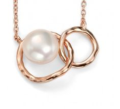 9ct Rose Gold Plated Sterling Silver Freshwater Pearl Link Necklace, from the London Jewellery Company.