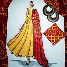 Fashion Design Books, Fashion Design For Kids, Fashion Design Drawings, Fashion Art, Dress Illustration, Fashion Illustration Dresses, Long Gown Design, Fashion Drawing Tutorial, Dress Design Sketches
