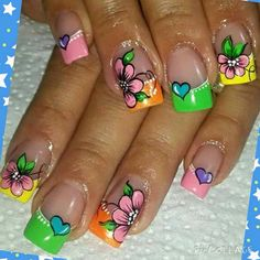 Verd Rose Nail Art, Rose Nails, Flower Nail Art, Animal Nail Designs, Nail Art Designs, Hair And Nails, My Nails, Neon Nails, Tie Dye Nails