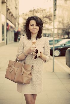 Me with my Mango dress, Tod's bag and ice cream