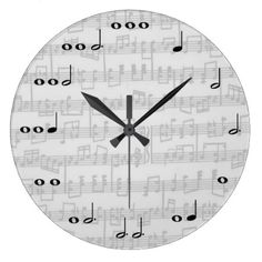 Gray Music Notes Personalized Wall Clock - tap, personalize, buy right now!