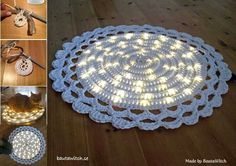 Lighted rope rug Virkad lysande matta Made by Crochet Doily Rug, Crochet Car, Crochet Rug Patterns, Crochet Rope, Single Crochet, Free Crochet, Rope Rug, How To Make Rope, Clever Diy