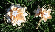 Rustic Wedding - French Vanilla and Raffia Origami Corsage and Boutonniere Set - Etsy - $32  #wedding #paperflowers #etsy #handmade #rustic #corsage #boutonniere