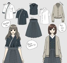 Kpop Fashion Outfits, Anime Outfits, Cool Outfits, Japan Fashion, Fashion Art, Girl Fashion, School Costume, Modern Kimono, Fashion Design Sketches