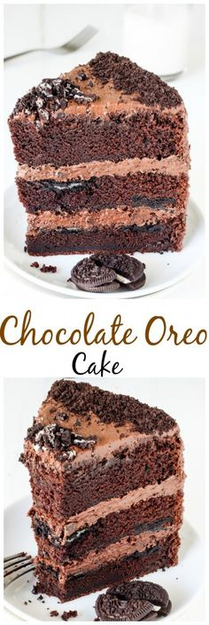 Triple Layer Chocolate Oreo Cake - rich, fudgy, and loaded with Oreos - this cake is INCREDIBLE!