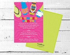 Slipper & Flip Flop Slumber Birthday Party Invitation $15.00 ~ rainbow, pink and green