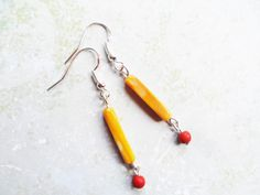 Autumnal silver earrings with red beads and orange rectangle beads, Scandinavian / Nordic style, fall colors by SelmaDreams on Etsy