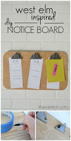 West Elm inspired diy expert notice board- This is such a perfect way to get my home office organized and get those important papers off the desk!