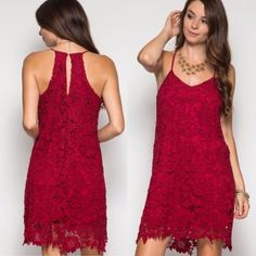 Dresses - ❤️LAST ONE❤️ Floral Lace Sexy Event Red Tank Dress