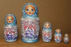 Blue Nesting Doll - beautiful detail