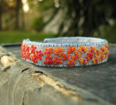 Floral Boho Embroidered Cuff Bracelet Orange and by Sidereal, $32.00