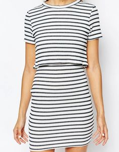 Image 3 of Daisy Street Stripe Layered Dress in Jersey Rib