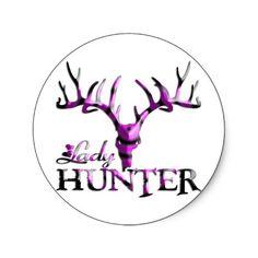 LADY DEER HUNTER ROUND STICKER by GirlzHuntNFish