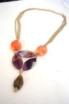 Medley of Agates long bib necklace