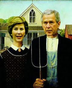 American Gothic: Laura and George Bush American Gothic Painting, American Gothic House, Grant Wood American Gothic, American Gothic Parody, Famous Art Pieces, Famous Artwork, Comic Pictures, Comic Pics, Gothic People