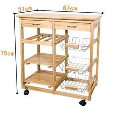 SoBuy Wooden Kitchen Storage Cart with Shelves & Drawers,Hostess Trolley,Kitchen Storage Rack Diy Kitchen Decor, Kitchen Furniture, Wood Furniture, Diy Home Decor, Pallet Kitchen Island, Wooden Kitchen, Kitchen Storage Cart, Kitchen Cart, Storage Rack