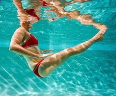Pool Workout-want to lose weight without breaking a sweat? Hop in the pool! This fun water workout burns mega calories and tones every trouble spot. My kind of workout!