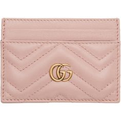 Gucci Pink GG Marmont Card Holder (1,590 GTQ) ❤ liked on Polyvore featuring bags, wallets, pink, gucci wallet, quilted leather bag, credit card holder wallet, logo bags and card case wallet