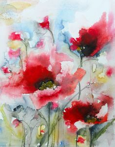 "Saatchi Art Artist: Karin Johannesson; Watercolor 2014 Painting ""Red Poppies IX"""