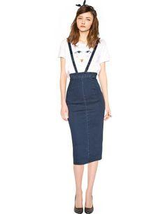 Denim Suspender Pencil Skirt