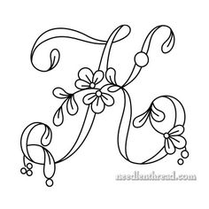 Floral Script Monogram: Letter K Embroidery Alphabet, Embroidery Monogram, Embroidery Transfers, Hand Embroidery Patterns, Embroidery Stitches, Embroidery Designs, Alphabet Stencils, Alphabet Crafts, Alphabet Letters