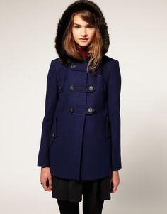 navy coat. i bought a warm coat, now i need a cute one.