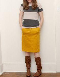 Love yellow + grey & stripes