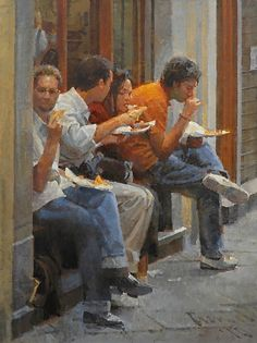 Pizza durante la Pausa by James Crandall Painting People, Figure Painting, Traditional Paintings, Contemporary Paintings, Watercolor Illustration, Watercolor Paintings, Art Alevel, Moleskine Sketchbook, Hyper Realistic Paintings