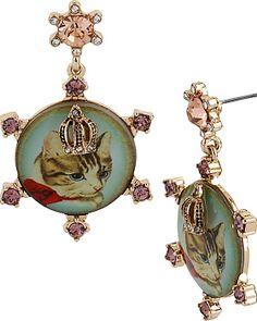 VINTAGE KITTY CAMEO DROP EARRING BLUE MULTI accessories jewelry earrings fashion