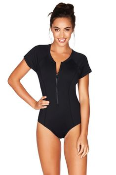 Black Short Sleeved Multifit One Piece