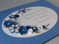 Quilled 65th sapphire wedding anniversary card handmade