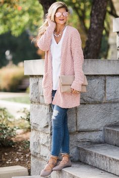 Chic Cardigan Outfits You Can't Go Wrong With Casual Winter Outfits, Cute Fall Outfits, Pink Outfits, Fall Fashion Outfits, Outfits For Teens, Womens Fashion, Fashion Ideas, White Outfits, Winter Fashion