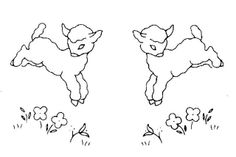 Lamb pattern for pillowcase embroidery