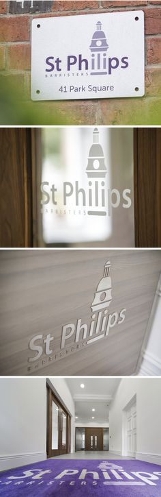 Signage for the indoors and outdoors of the offices in Leeds for St Philips Chambers - an award winning multi-disciplinary set of barristers, widely recognised as one of the most forward-looking chambers in the UK. Multi Disciplinary, Leeds, Offices, About Uk, Signage, Indoor, Outdoors, Creative, Projects